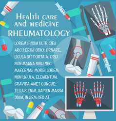 Rheumatology poster with bone and joint x-ray vector
