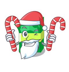 Santa with candy set money in packing bundles vector