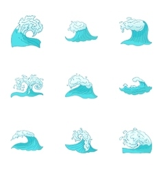 Sea waves icons set cartoon style vector image