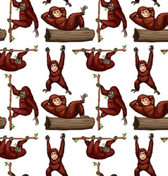Seamless orangutan vector