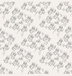 Seamless pattern outline 3 sketch on school theme vector