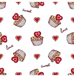 Seamless pattern with doodle heart shaped cookies vector image