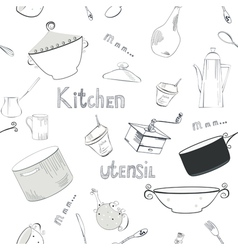 seamless wallpaper with utensils vector image