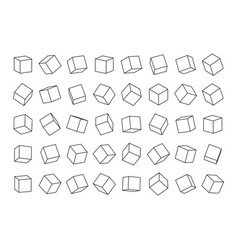 set cubes from contour lines in different vector image