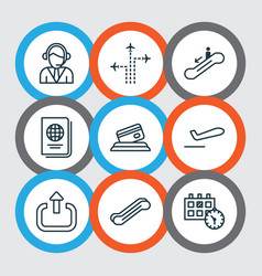 Set of 9 airport icons includes operator credit vector