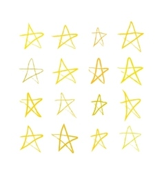 Set of golden hand-drawn stars on white vector image