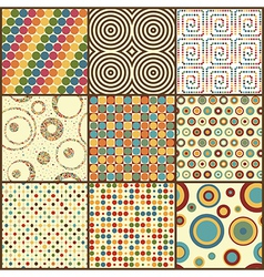 Set of nine retro geometric seamless patterns with vector image