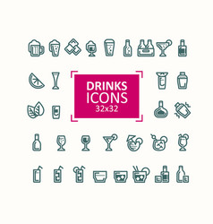 set of of icons of drinks vector image