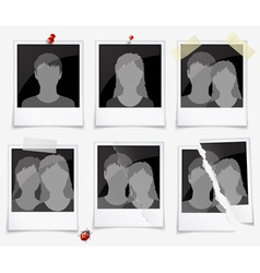 Set of photo frames with silhouettes vector image