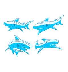 shark logo emblem design outline set concept vector image