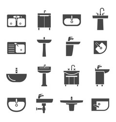 sink with taps icon set for kitchen and bathroom vector image