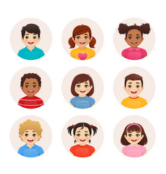 Smiling kid avatars vector