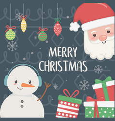 snowman and santa with gifts and balls merry vector image