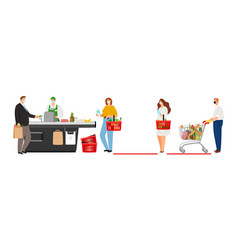 social distancing in grocery store vector image