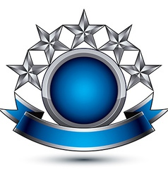 Sophisticated emblem with 5 silver glossy stars vector image