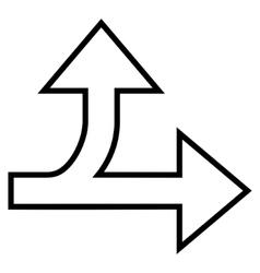 Split Direction Right Forward Thin Line vector