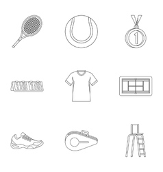 Sport with racket icons set outline style vector image