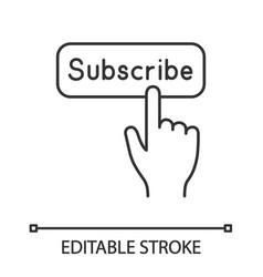 subscribe button click linear icon vector image