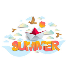 summer papercut word with origami folded toy ship vector image
