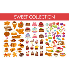 sweet collection of delicious desserts and vector image