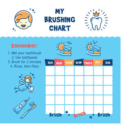 Teeth brushing incentive chart teeth cleaning vector
