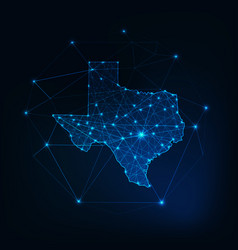 texas state usa map glowing silhouette outline vector image