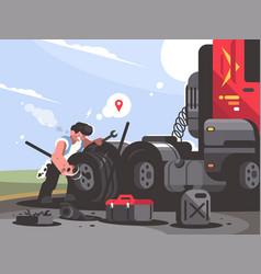 truck driver is repairing car vector image