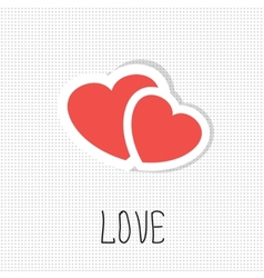 Two paper hearts card with place for text vector image