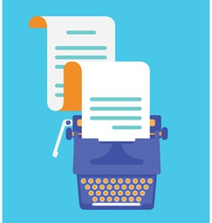 Typewriter with sheet of paper view top flatstyle vector