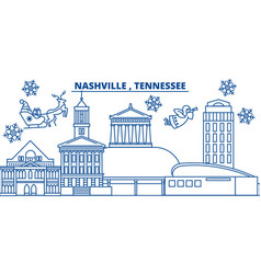 usa tennessee nashville winter city skyline vector image