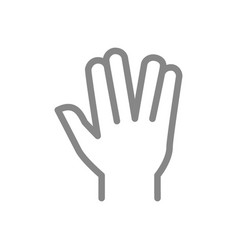 Vulcan salute line icon live long and prosper vector