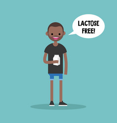 Young black man holding a carton of lactose free vector