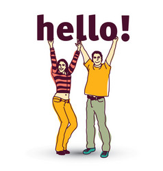 Young coupple isolated and sign hello vector