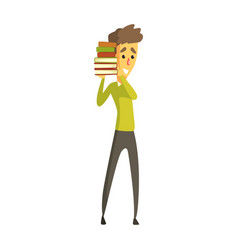 young man standing and holding a stack of books vector image
