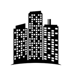 black buildings and city scene line sticker vector image