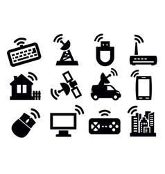 connection icon set vector image vector image