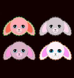 cute pastel colors pink and grey rabbits vector image