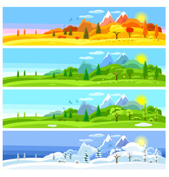 four seasons landscape banners with trees vector image