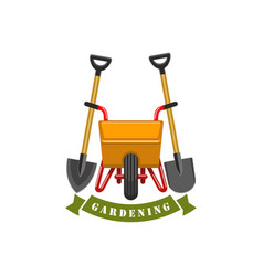 Gardening planting work tools icon vector