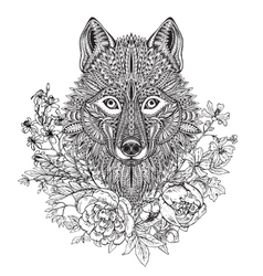 Hand drawn graphic ornate head of wolf with ethnic vector image vector image