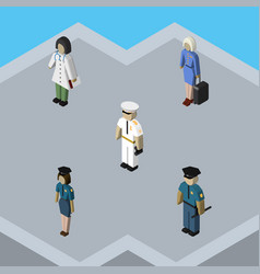 Isometric people set of hostess officer doctor vector
