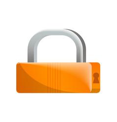 closed orange padlock icon in flat design vector image