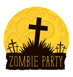 halloween lettering with crosses on cemetery vector image vector image