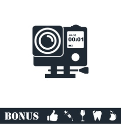 Action camera icon flat vector image vector image