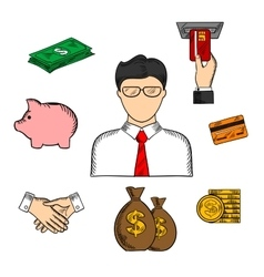 Banker and financial color sketched icons vector image