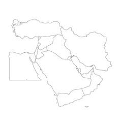 Blank map of middle east or near east simple vector