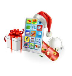 christmas mobile phone vector image vector image