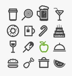 Different drinks and food icons set vector image