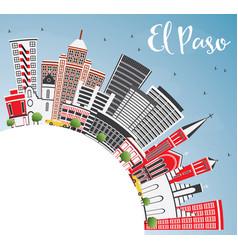 el paso usa skyline with gray buildings blue sky vector image vector image