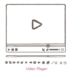 Hand draw sketch doodle video player vector image